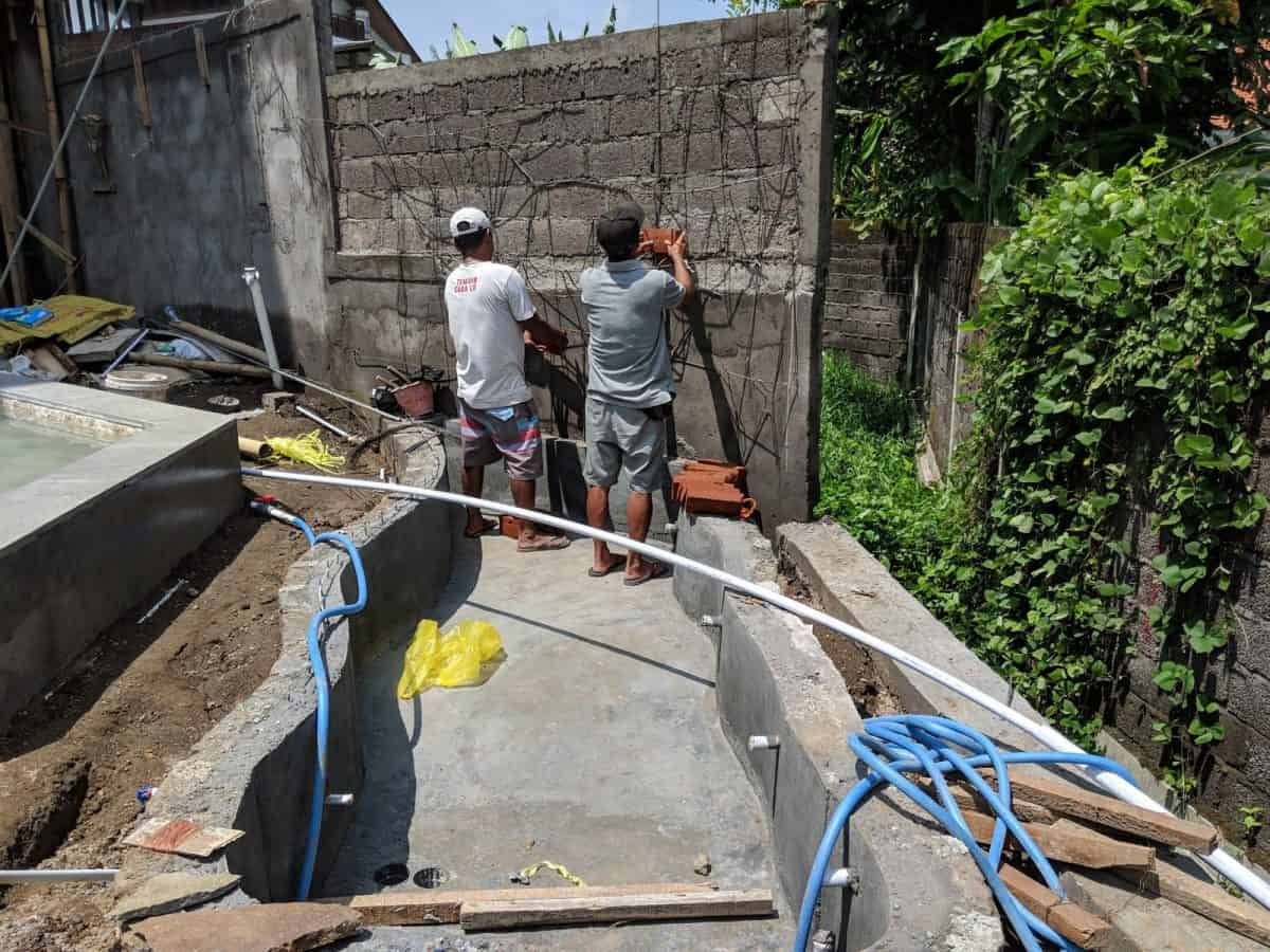 landscaping and koi pond, Week #41 — A Balinese gate, a koi pond, and landscaping begins, Ohana Retreat Bali, Ohana Retreat Bali